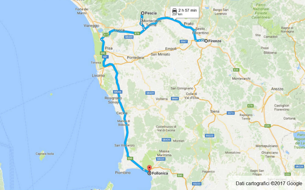Toscana - Firenze - Pescia - Follonica
